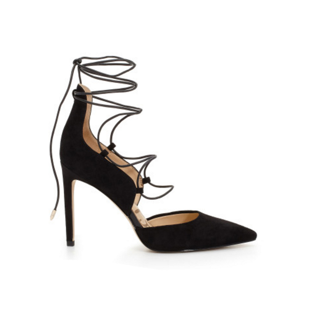 Helaine Suede Lace Up Heel - Black