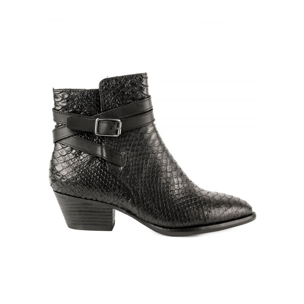 Lois Python Textured Boots - Black