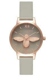 Olivia Burton Midi Moulded Bee Grey Dial Watch - Grey & Rose Gold