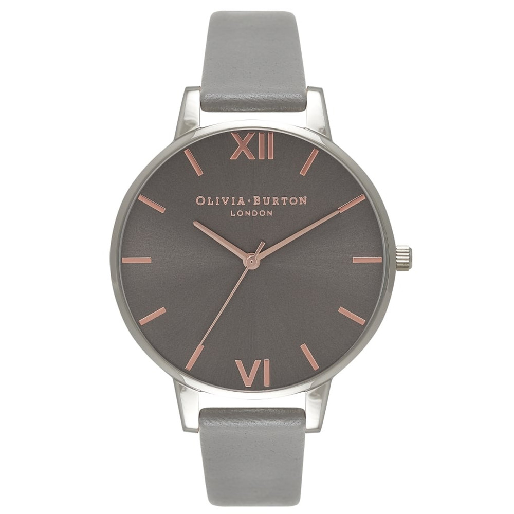 Big Dark Grey Dial Watch - Grey, Rose Gold & Silver