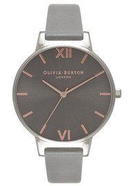 Olivia Burton Big Dark Grey Dial Watch - Grey, Rose Gold & Silver