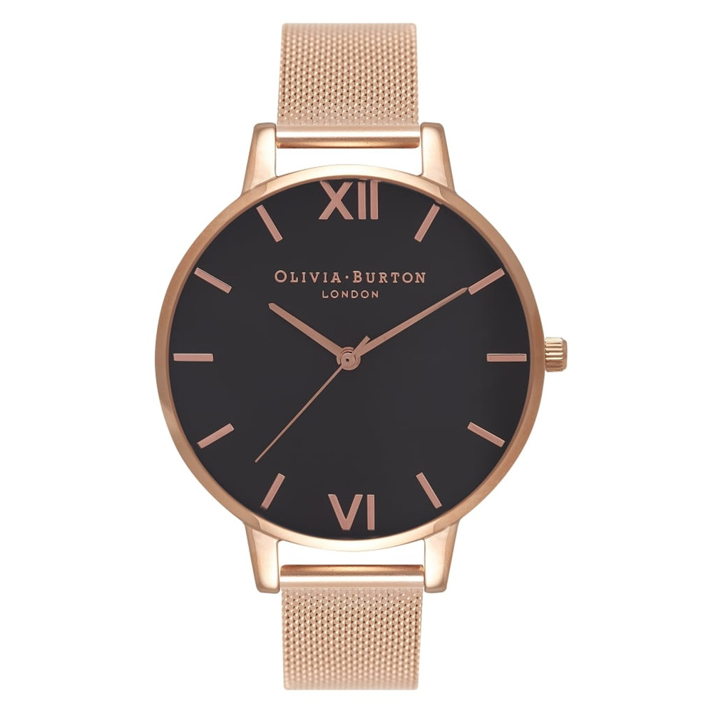Big Black Dial Mesh Watch - Rose Gold