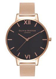 Olivia Burton Big Black Dial Mesh Watch - Rose Gold
