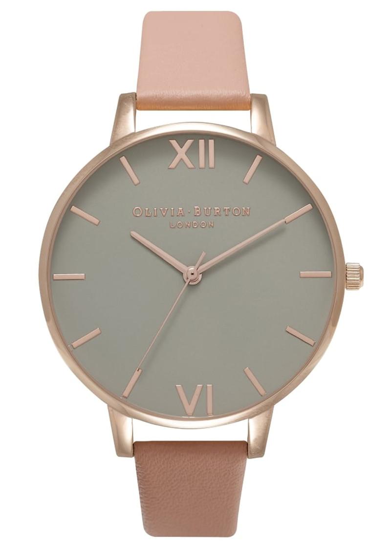 Olivia Burton Big Grey Dial Watch - Dusty Pink & Rose Gold main image