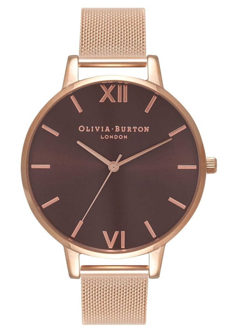 Olivia Burton Big Brown Dial Mesh Watch - Rose Gold main image
