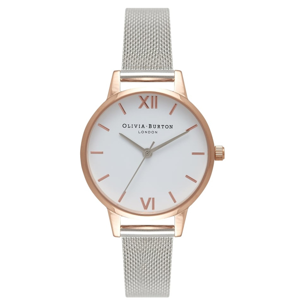Midi Dial White Dial Mesh Watch - Rose Gold & Silver