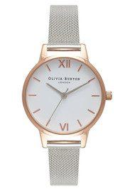 Olivia Burton Midi Dial White Dial Mesh Watch - Rose Gold & Silver