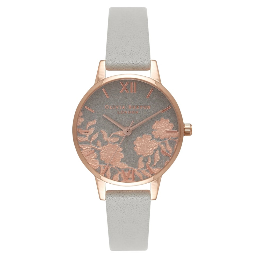 Lace Detail Midi Watch - Grey & Rose Gold
