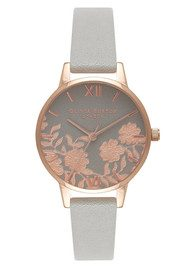 Olivia Burton Lace Detail Midi Watch - Grey & Rose Gold