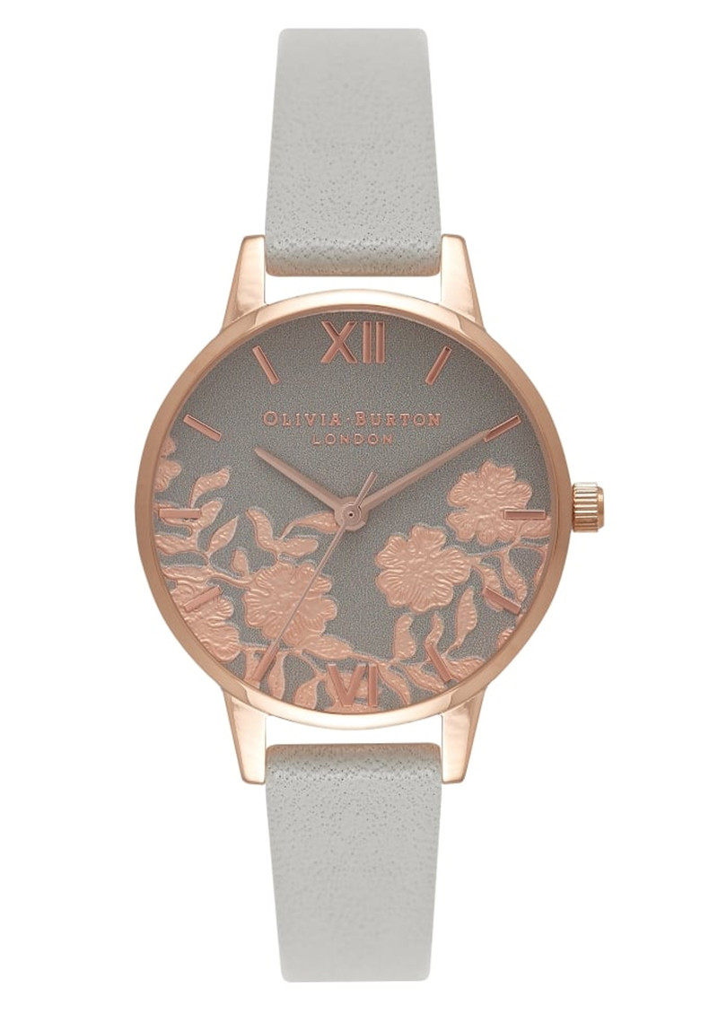 Olivia Burton Lace Detail Midi Watch - Grey & Rose Gold main image