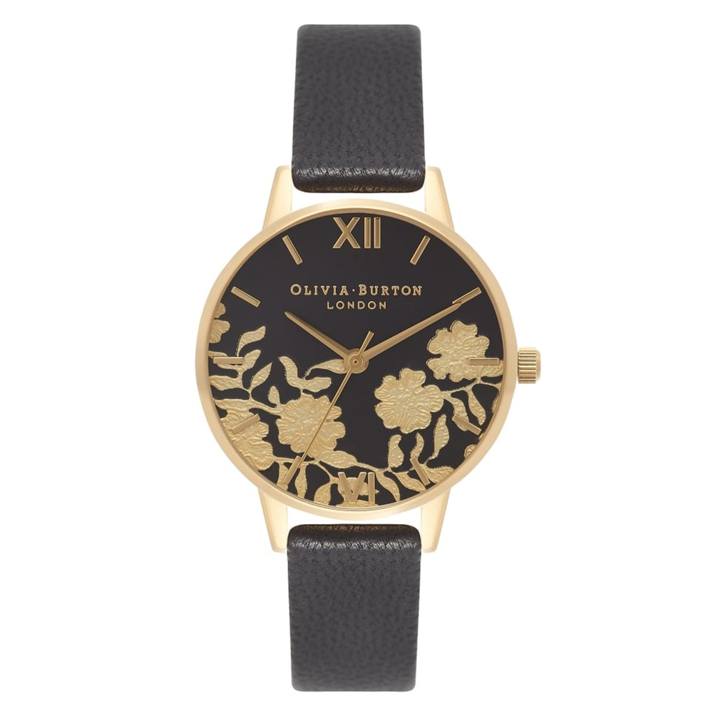 Lace Detail Midi Watch - Black & Gold