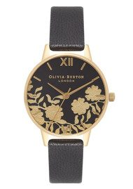 Olivia Burton Lace Detail Midi Watch - Black & Gold
