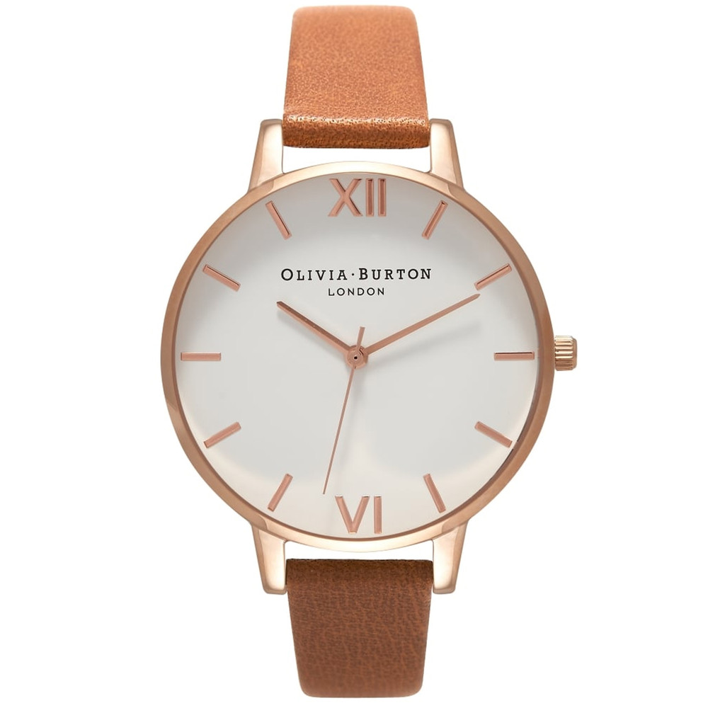 Big Dial White Dial Watch - Tan & Rose Gold