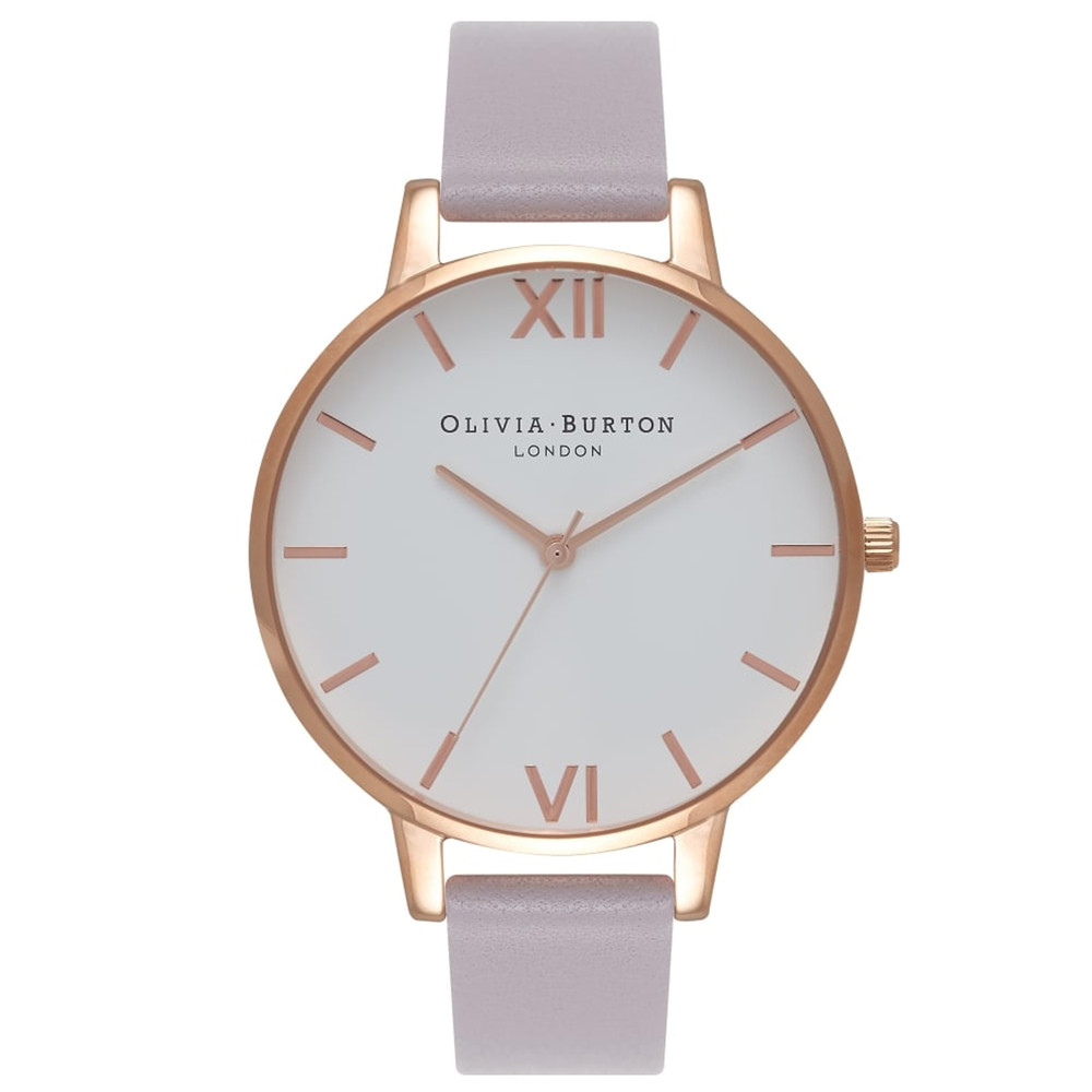 Big Dial White Dial Watch - Grey, Lilac & Rose Gold