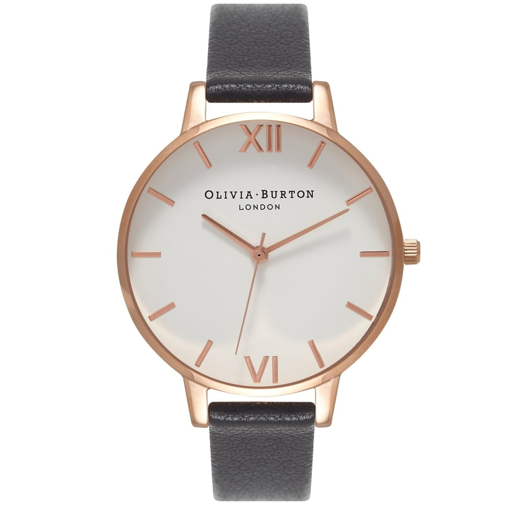 Big Dial White Dial Watch - Black & Rose Gold