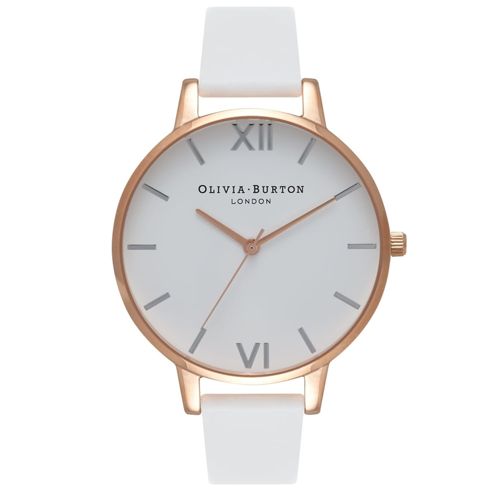 Big Dial White Dial Watch - White, Rose Gold & Silver