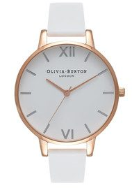 Olivia Burton Big Dial White Dial Watch - White, Rose Gold & Silver