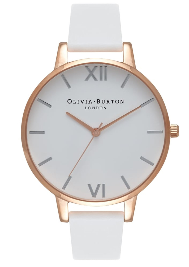 Big Dial White Dial Watch - White, Rose Gold & Silver main image