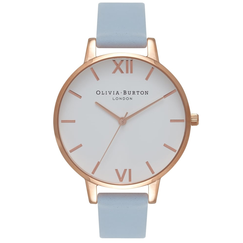 Big Dial White Dial Watch - Chalk Blue & Rose Gold