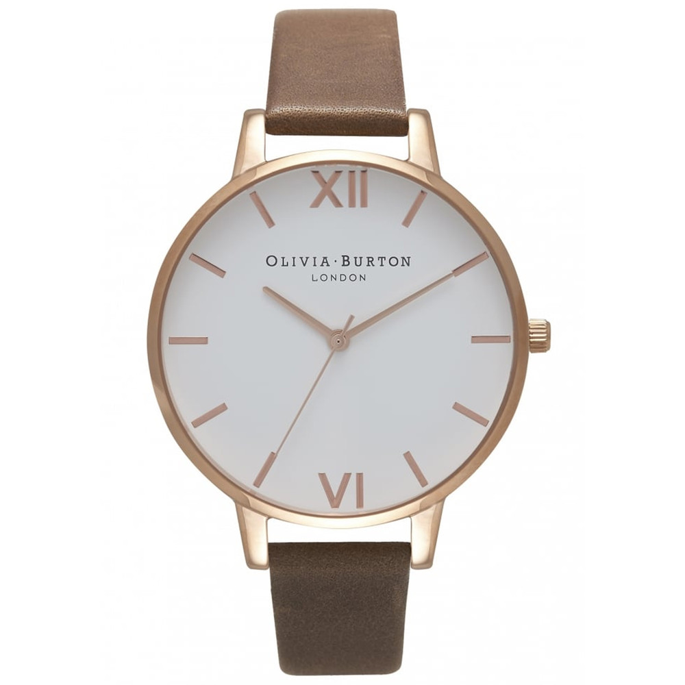 Big Dial White Dial Watch - Brown & Rose Gold