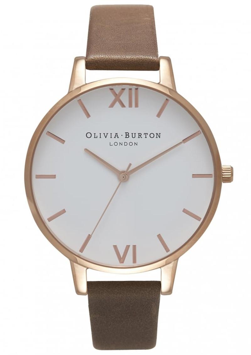 Olivia Burton Big Dial White Dial Watch - Brown & Rose Gold main image