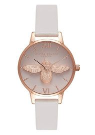 Olivia Burton Midi Moulded Bee Blush Dial Watch - Blush & Rose Gold