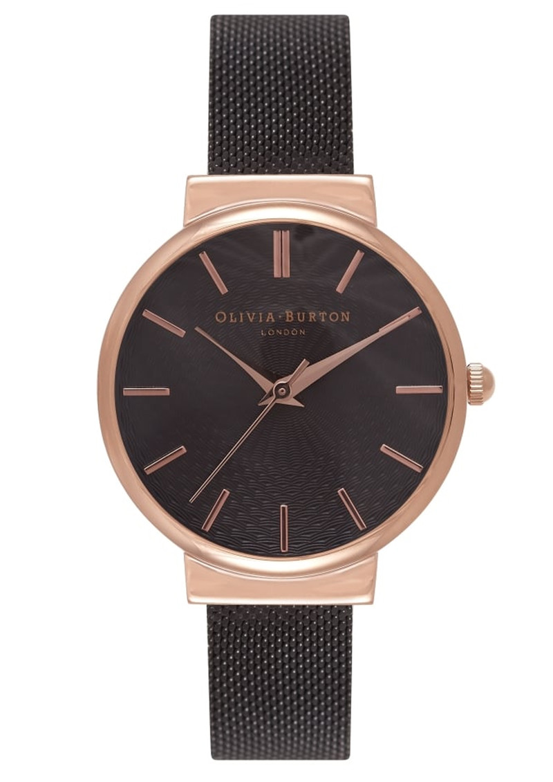 The Hackney Black Mesh Watch - Rose Gold main image