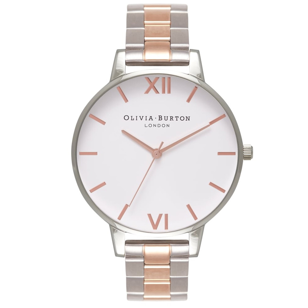 White Dial Bracelet Watch - Silver & Rose Gold