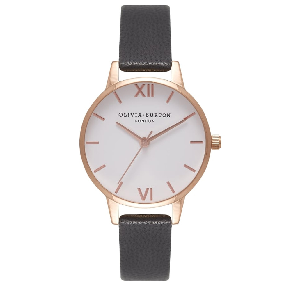 Midi Dial White Dial Watch - Black & Rose Gold