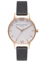 Olivia Burton Midi Dial White Dial Watch - Black & Rose Gold