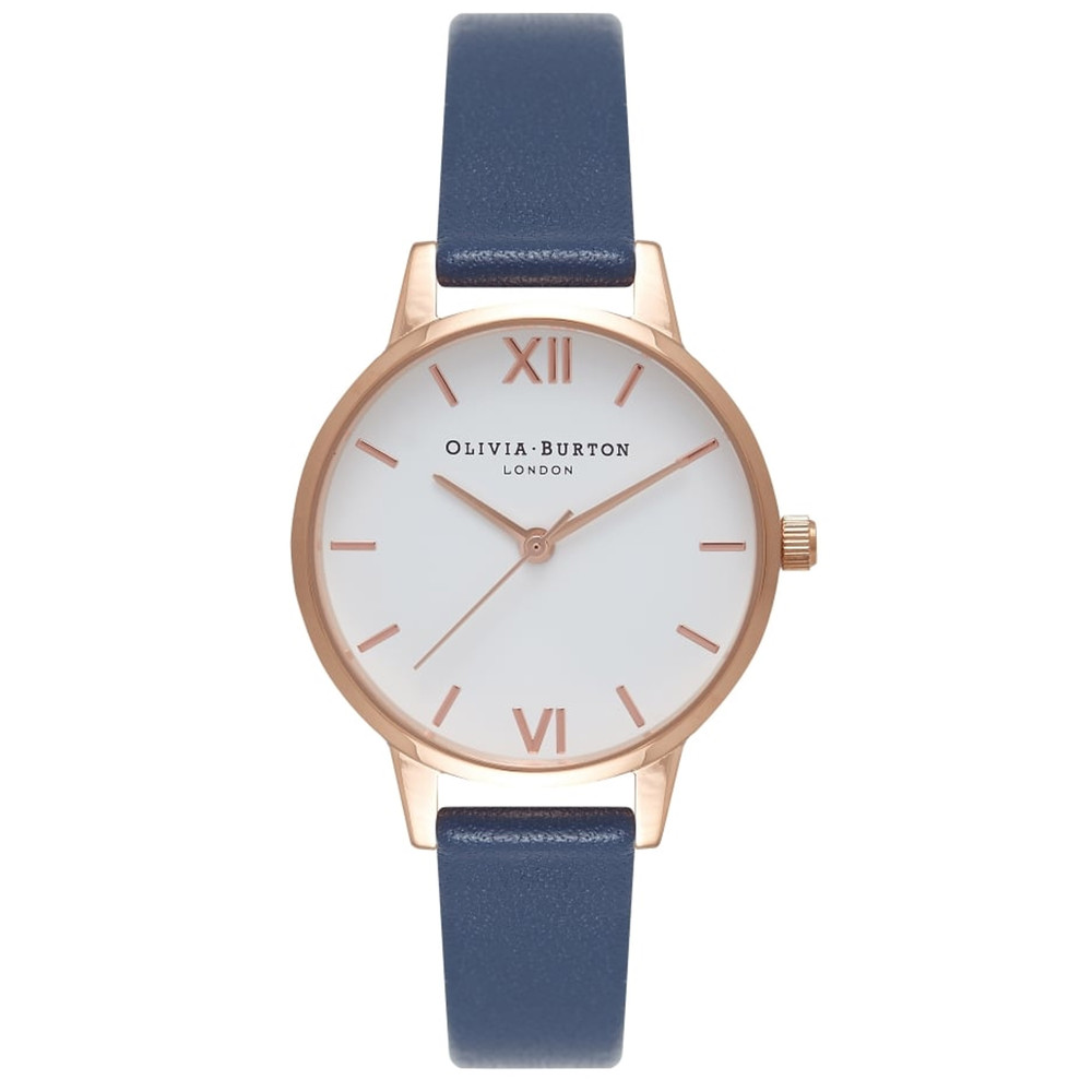 Midi Dial White Dial Watch - Navy & Rose Gold