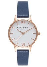 Olivia Burton Midi Dial White Dial Watch - Navy & Rose Gold