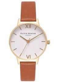 Olivia Burton Midi Dial White Dial Watch - Tan & Gold