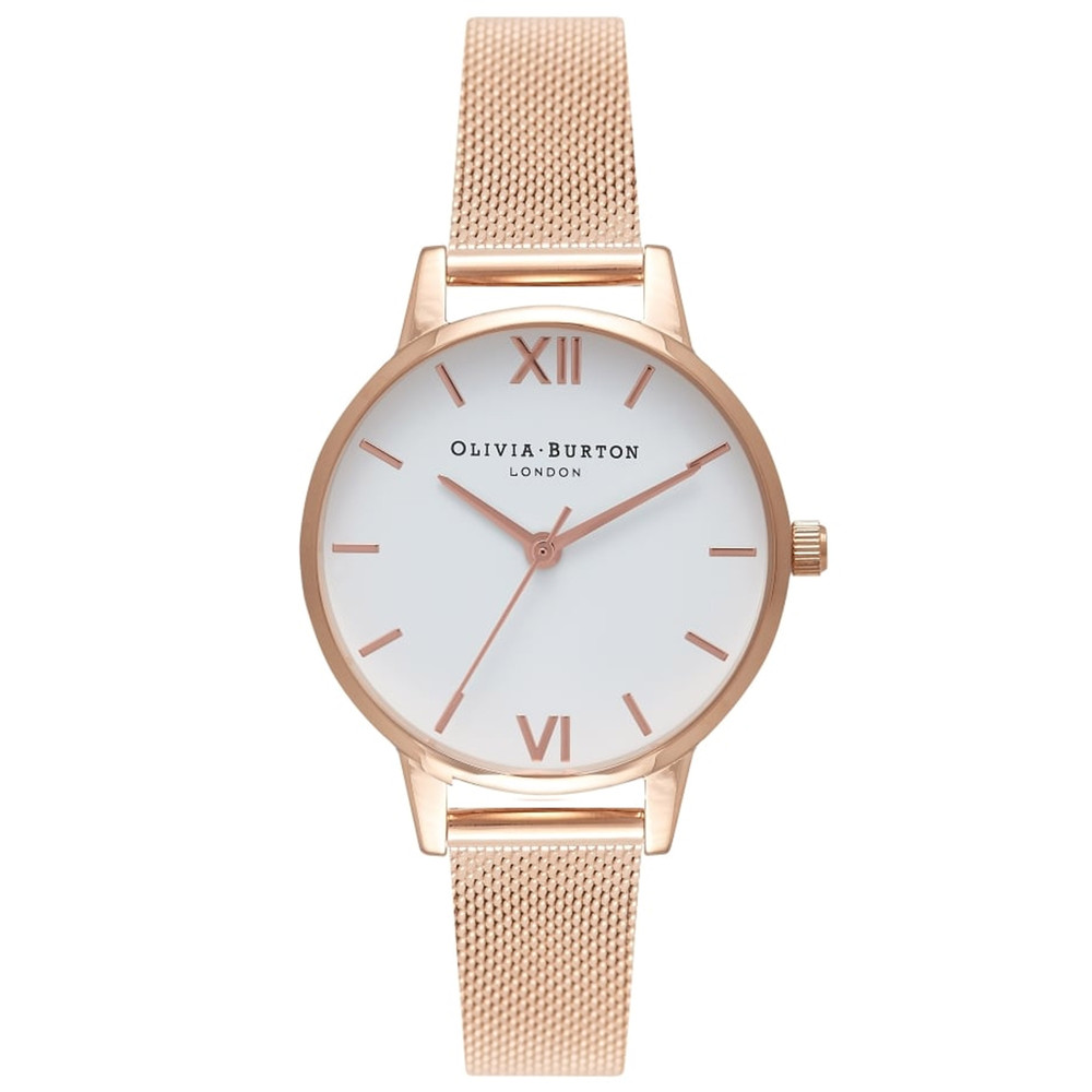 Midi White Dial Mesh Watch - Rose Gold