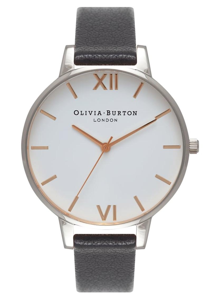 Olivia Burton Big Dial White Dial Watch - Black, Silver & Rose Gold main image