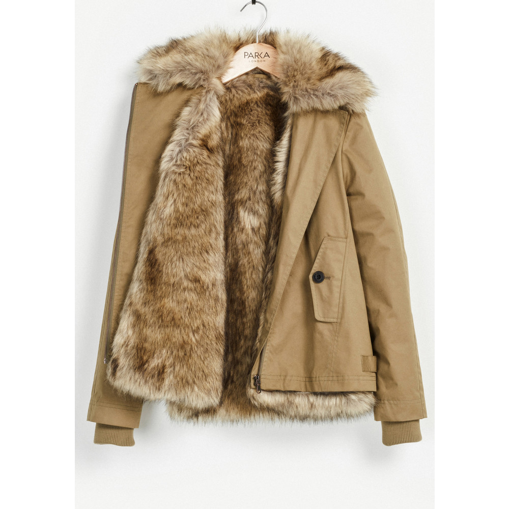Aya Faux Fur Lined Jacket - Light Khaki