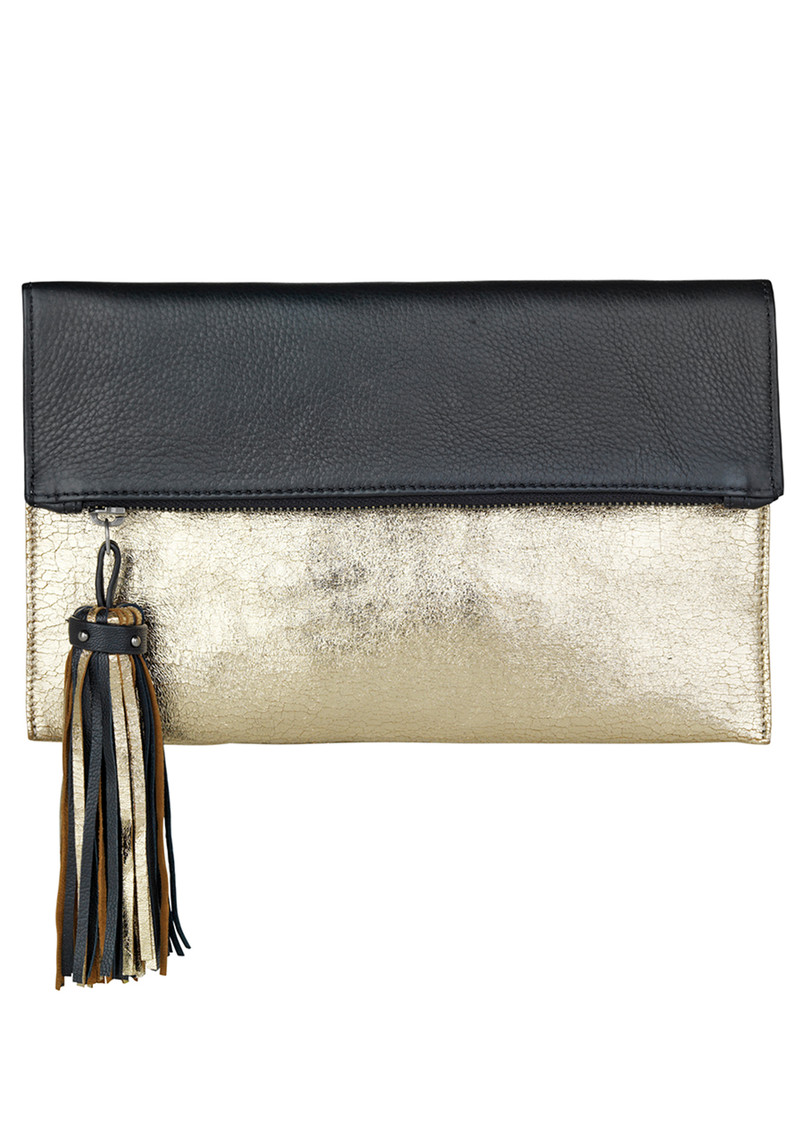 Iwata Tassel Clutch - Gold Metallic main image