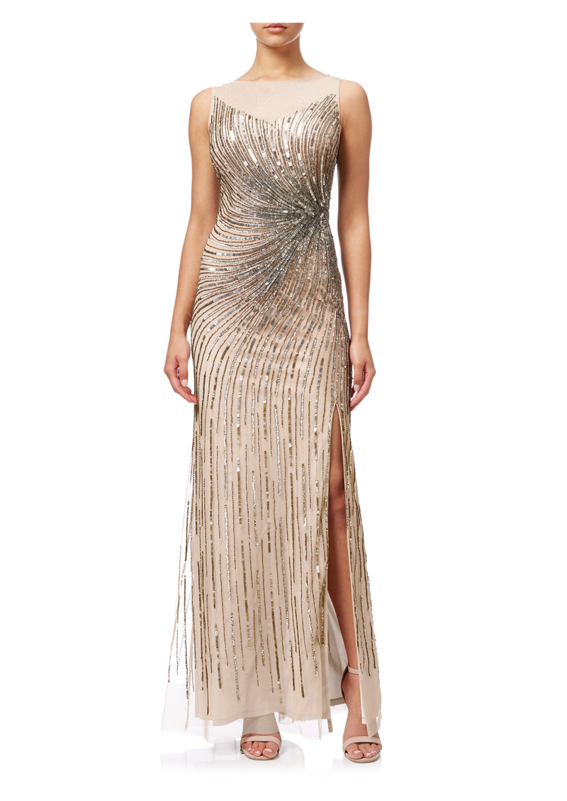 Sleeveless Beaded Mermaid Slit Gown - Taupe Pink main image