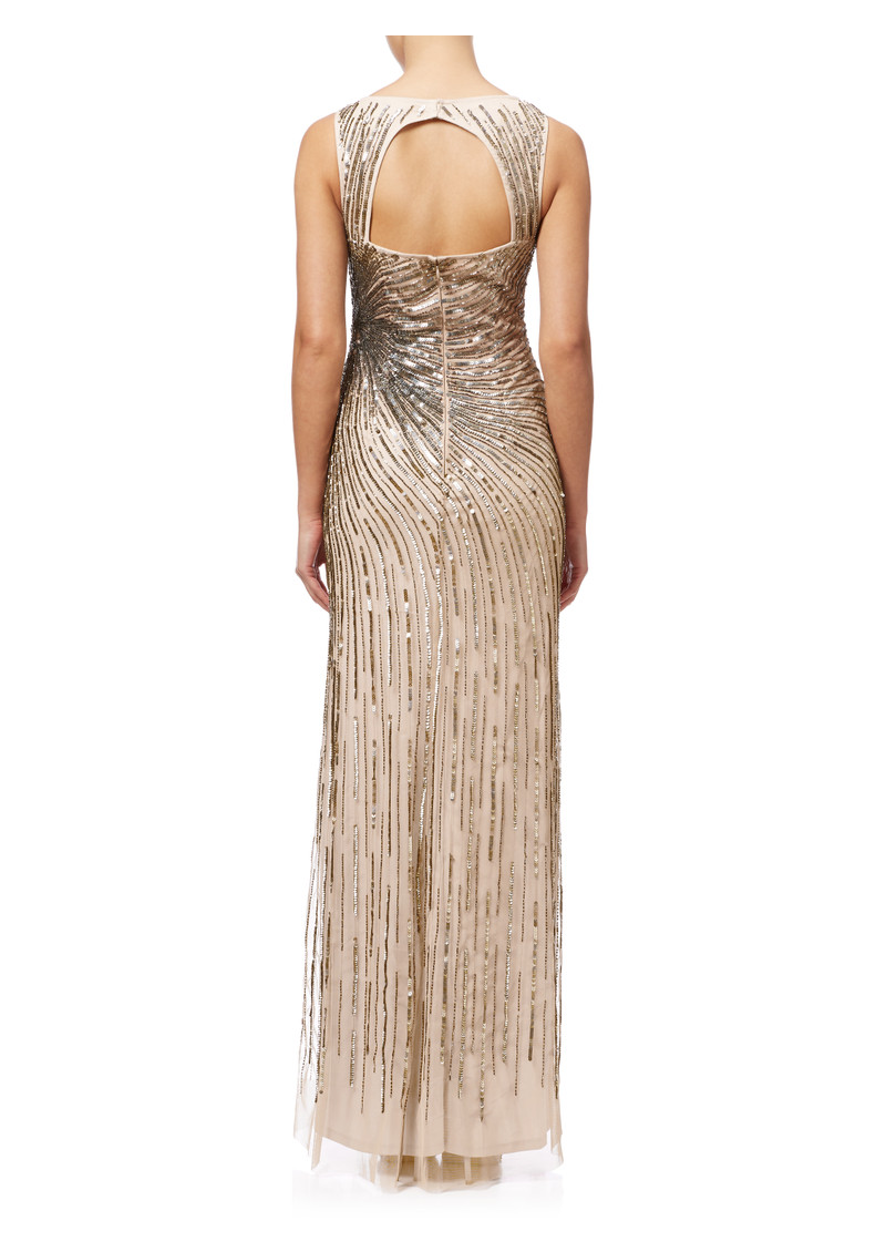 ADRIANNAPAPELL Sleeveless Beaded Mermaid Slit Gown - Taupe Pink main image