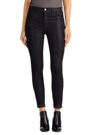 J Brand Alana High Rise Crop Coated Jeans with Released Hem - Coated Dust