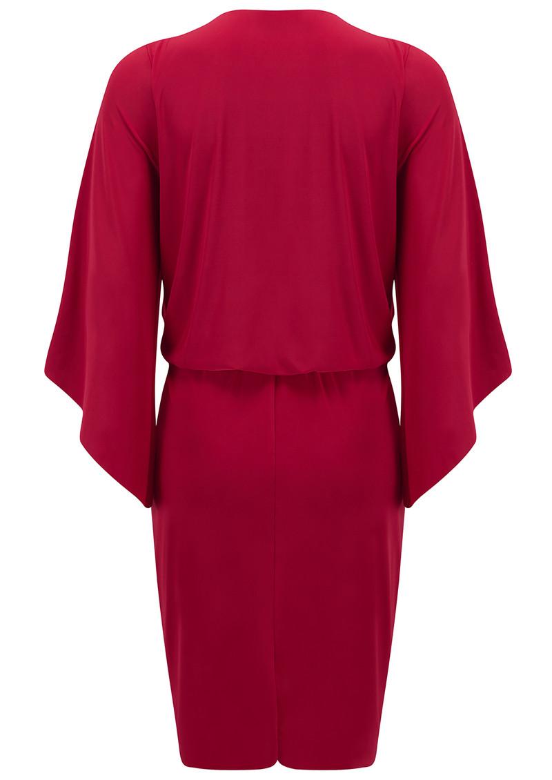 MISA Los Angeles Teget Bell Long Sleeve Twist Dress - Red main image