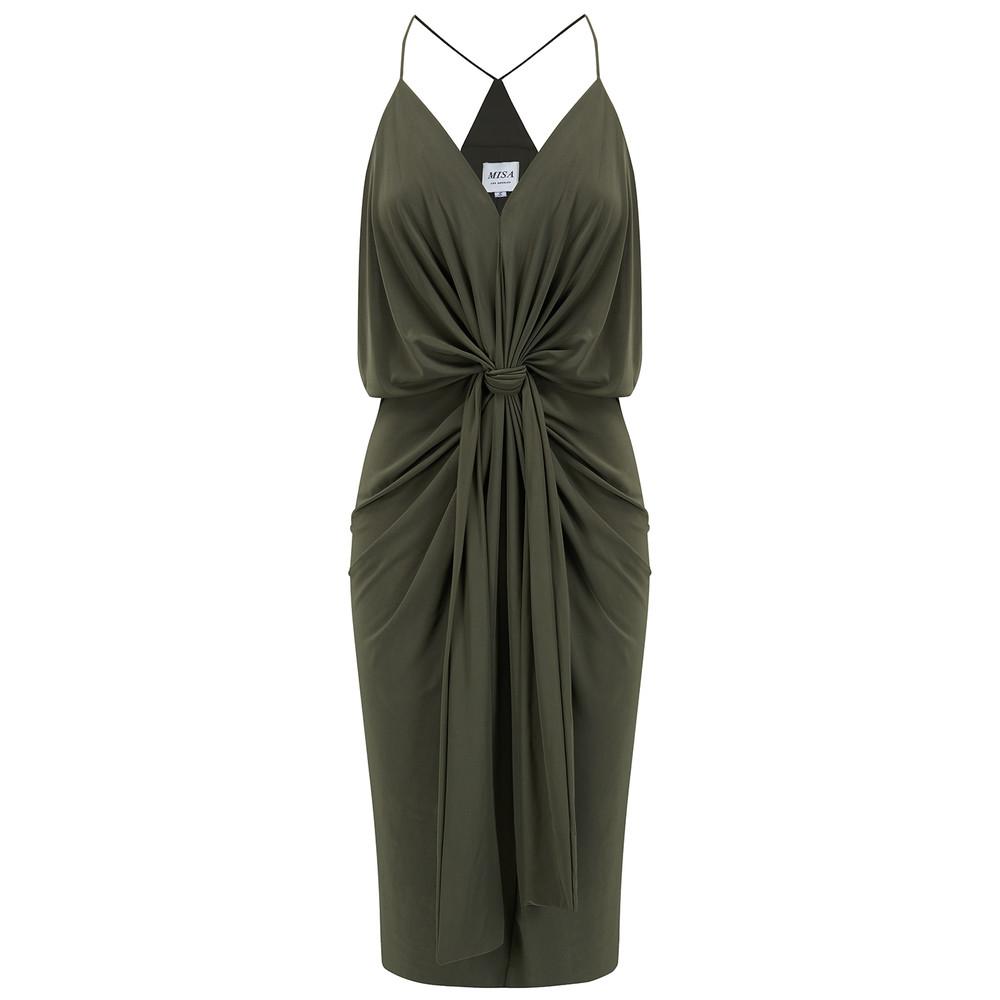 Domino Spaghetti Strap Dress - Olive