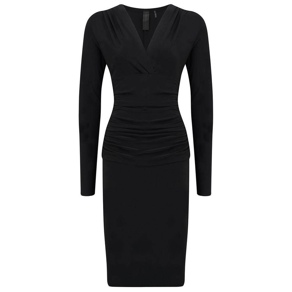 V Neck Long Sleeve Shirred Dress - Black