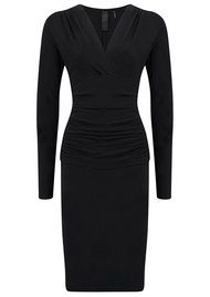 KAMALI KULTURE V Neck Long Sleeve Shirred Dress - Black