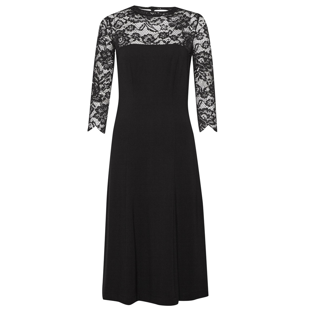 Georgia Lace Open Back Dress - Black