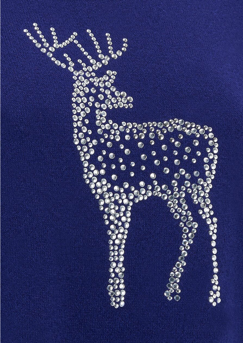 COCOA CASHMERE Reindeer Crystal Boxy Jumper - French Navy main image