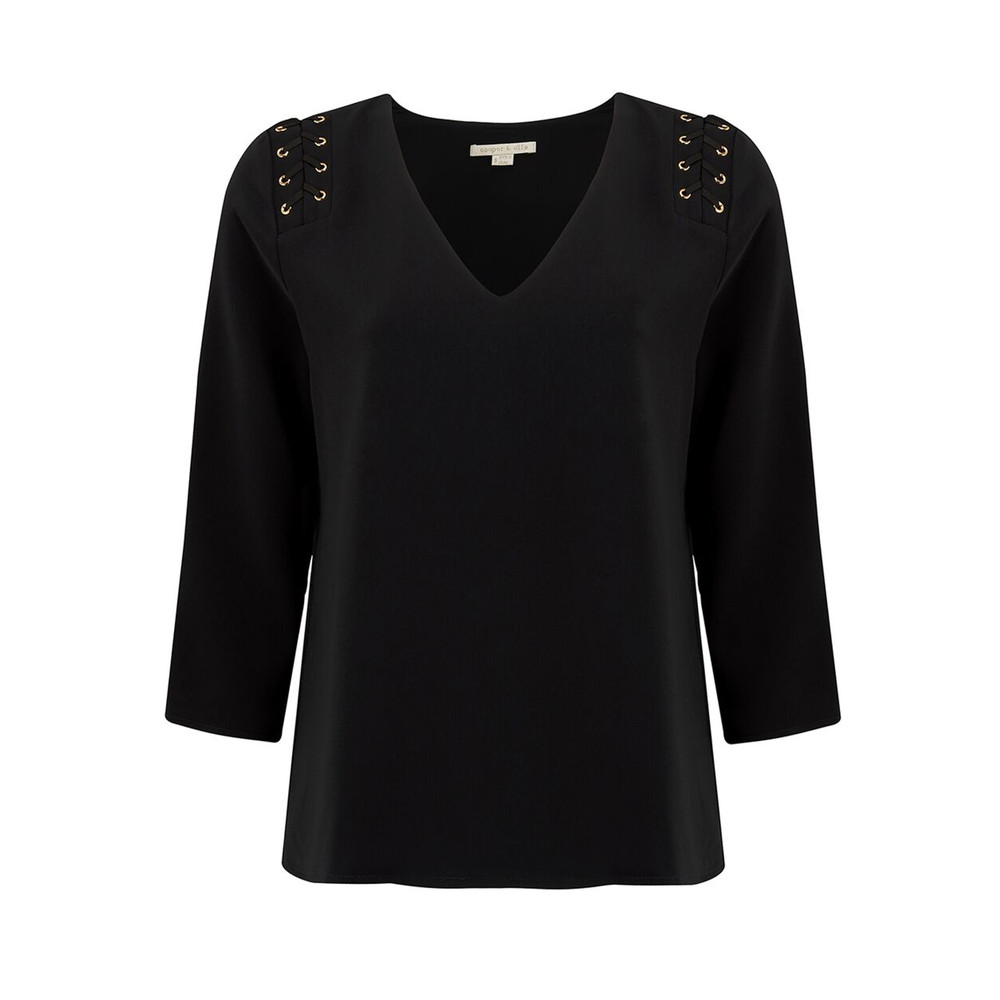 Adel Lace Up Blouse - Black