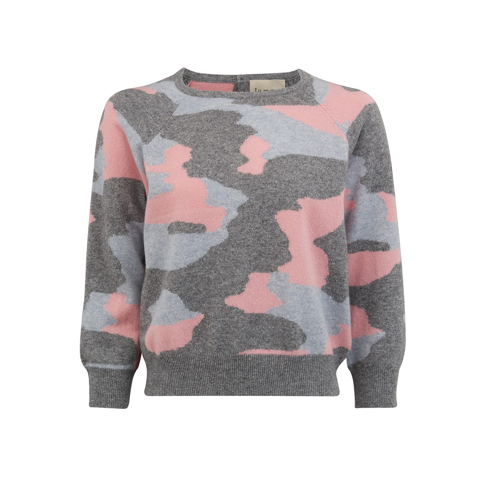 Camouflage Cashmere Jumper - Mid Grey, Silver Grey & Dusty Pink
