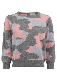 JUMPER 1234 Camouflage Cashmere Jumper - Mid Grey, Silver Grey & Dusty Pink