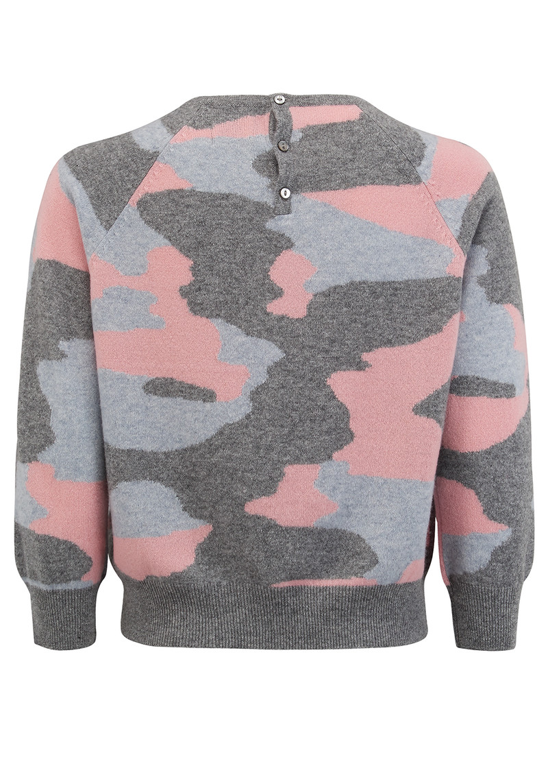 JUMPER 1234 Camouflage Cashmere Jumper - Mid Grey, Silver Grey & Dusty Pink main image